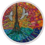 Round Beach Towel featuring the painting Two Turtle Doves by Denise Weaver Ross