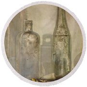 Two Vintage Bottles Round Beach Towel