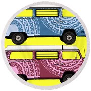 Two Vw Vans Round Beach Towel