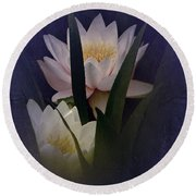 Round Beach Towel featuring the photograph Two Water Lilies by Richard Cummings