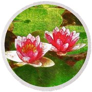 Round Beach Towel featuring the painting Two Waterlily Flower by Lanjee Chee