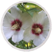 Two White Hibscus  Round Beach Towel