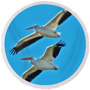 Two White Pelicans Round Beach Towel