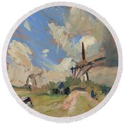 Two Windmills Round Beach Towel