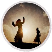Two Women Dancing At Sunset Round Beach Towel