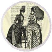 Two Women In Conversation Round Beach Towel