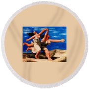 Two Women Running On The Beach Round Beach Towel