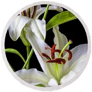 Two Wonderful Lilies  Round Beach Towel