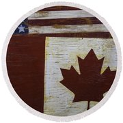 Two Wooden Flags American And Canadian Round Beach Towel