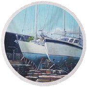 Two Yachts Receiving Maintenance In A Yard Round Beach Towel