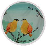 Two Yellow Chickadees Round Beach Towel