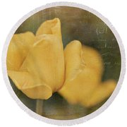 Two Yellow Tulips Round Beach Towel