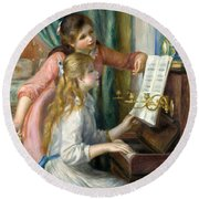 Two Young Girls At The Piano, 1892  Round Beach Towel