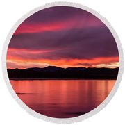 Twofold Bay Sunset Round Beach Towel by Racheal  Christian