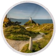 Twr Mawr Lighthouse Round Beach Towel