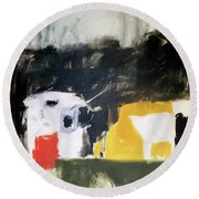 Round Beach Towel featuring the painting ty by Chris Gholson