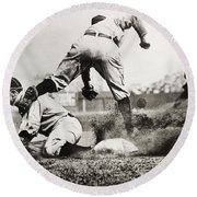 Ty Cobb Gets A Triple Round Beach Towel