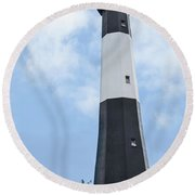 Round Beach Towel featuring the photograph Tybee Island Lighthouse by Judy Wolinsky