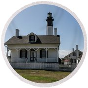 Round Beach Towel featuring the photograph Tybee Island Lighthouse by Kim Hojnacki