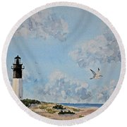 Tybee Light Savannah Round Beach Towel