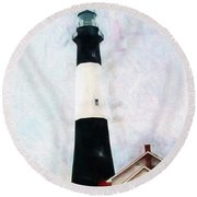 Tybee Lighthouse - Coastal Round Beach Towel