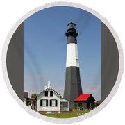 Tybee Lighthouse Georgia Round Beach Towel
