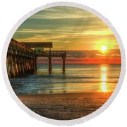Round Beach Towel featuring the photograph Tybee Pier Panorama Sunrise Art by Reid Callaway