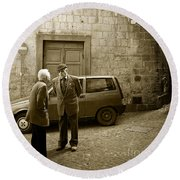 Typical Italian Street Scene In Sepia Round Beach Towel