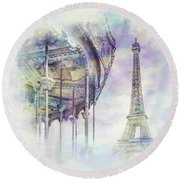 Round Beach Towel featuring the photograph Typical Paris - Watercolor  by Melanie Viola