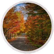 Typical Vermont Dirve - Fall Foliage Round Beach Towel