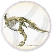 Tyrannosaurus Rex Skeleton Round Beach Towel