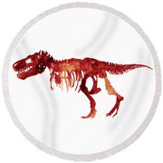 Tyrannosaurus Rex Skeleton Poster, T Rex Watercolor Painting, Red Orange Animal World Art Print Round Beach Towel