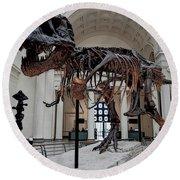 Round Beach Towel featuring the digital art Tyrannosaurus Rex Sue - Chicago by Daniel Hagerman