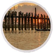 U-bein Bridge Round Beach Towel by Werner Padarin