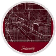 U Of M Street Map - University Of Minnesota Minneapolis Map Round Beach Towel by Jurq Studio