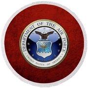 U. S.  Air Force  -  U S A F Emblem Over Red Velvet Round Beach Towel