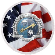 U. S.  Air Force Combat Control Teams - Combat Controller C C T Badge Over American Flag Round Beach Towel by Serge Averbukh