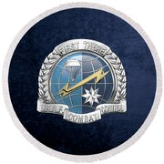 U. S.  Air Force Combat Control Teams - Combat Controller C C T Badge Over Blue Velvet Round Beach Towel by Serge Averbukh