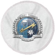 U. S.  Air Force Combat Control Teams - Combat Controller C C T Badge Over White Leather Round Beach Towel by Serge Averbukh