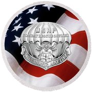 U. S.  Air Force Combat Rescue Officer - C R O Badge Over American Flag Round Beach Towel by Serge Averbukh