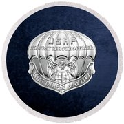 U. S.  Air Force Combat Rescue Officer - C R O Badge Over Blue Velvet Round Beach Towel by Serge Averbukh