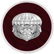 U. S.  Air Force Combat Rescue Officer - C R O Badge Over Maroon Felt Round Beach Towel by Serge Averbukh