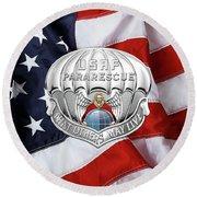 U. S.  Air Force Pararescuemen - P J Badge Over American Flag Round Beach Towel by Serge Averbukh