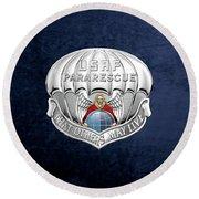 U. S.  Air Force Pararescuemen - P J Badge Over Blue Velvet Round Beach Towel by Serge Averbukh