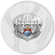U. S.  Air Force Pararescuemen - P J Badge Over White Leather Round Beach Towel by Serge Averbukh