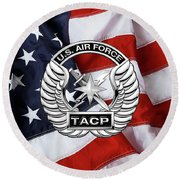 Round Beach Towel featuring the digital art U. S.  Air Force Tactical Air Control Party -  T A C P  Badge Over American Flag by Serge Averbukh