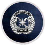 Round Beach Towel featuring the digital art U. S.  Air Force Tactical Air Control Party -  T A C P  Badge Over Blue Velvet by Serge Averbukh