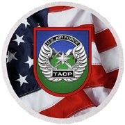 Round Beach Towel featuring the digital art U. S.  Air Force Tactical Air Control Party -  T A C P  Beret Flash With Crest Over American Flag by Serge Averbukh