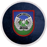 Round Beach Towel featuring the digital art U. S.  Air Force Tactical Air Control Party -  T A C P  Beret Flash With Crest Over Blue Velvet by Serge Averbukh