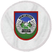 Round Beach Towel featuring the digital art U. S.  Air Force Tactical Air Control Party -  T A C P  Beret Flash With Crest Over White Leather by Serge Averbukh